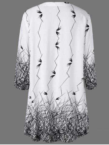 Online Plus Size Graphic Longline Henley Blouse - 5XL WHITE AND BLACK Mobile