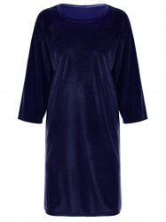 Plus Size Drop Shoulder Slit Velvet T-Shirt Dress