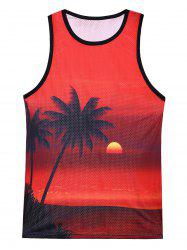 3D Coconut Tree Sunset Print Mesh Tank Top