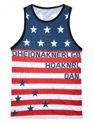 3D Stars and Stripes Print Mesh Tank Top