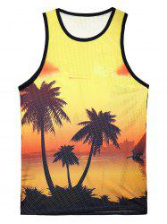 Round Neck 3D Printed Hawaiian Tank Top - COLORMIX