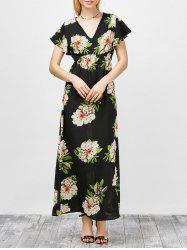 V-Neck Floral Kimono Maxi Summer Dress