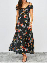 Cold Shoulder Floral Print Slit Maxi Summer Dress - MULTI