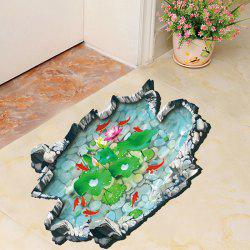 Chinese Style Lotus Fishpond 3D Toilet Wall Sticker