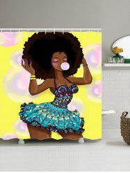 Fashion Girl Blow Bubbles Pattern Shower Curtain - COLORMIX