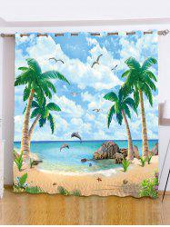 Plage Palmier fenêtre Shading Blackout Curtain -