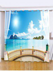 Shading Seascape Printed Window Curtain For Bedroom