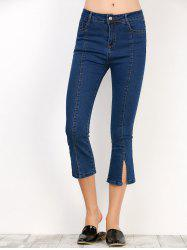 Slit Hem Cropped High Waisted Flare Jeans - BLUE