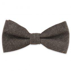 Denim Fabric Double Deck Design Bow Tie - BLACK