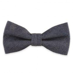 Denim Fabric Double Deck Design Bow Tie -