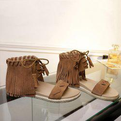 Flat Heel Gladiator Sandals With Fringe