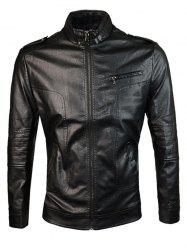 Epaulet Design PU Leather Jacket