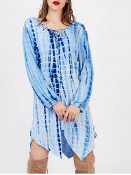 Lace Up Printed Cut Out Asymmetric Dress