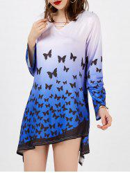 Ombre Butterfly Print Asymmetrical Tunic Dress