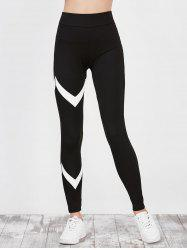 High Waist Zigzag Panel Running Leggings - BLACK
