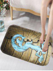 Mermaid Cracked Plank Flanne Foam Bath Mat