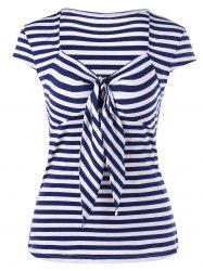 Sweetheart Neck Tie Front Striped T-Shirt