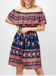 Off The Shoulder Floral Print Ruffle High Waist Dress