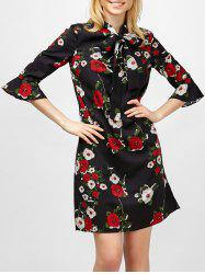 Flare Sleeve Floral Print Bowtie Dress