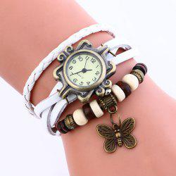 Faux Leather Strap Analog Vintage Bracelet Watch -