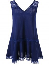 V Neck Lace Insert Tank Top - PURPLISH BLUE