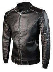 Zip Up Rib Spliced PU Leather Jacket