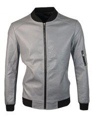 Zip Up Rib Spliced ​​PU Leather Jacket - Gris M
