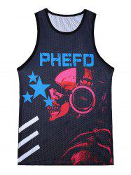 3D Stars and Skull Print Mesh Tank Top - COLORMIX