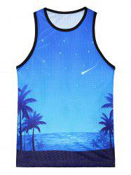 3D Galaxy Sea Beach Print Tank Top