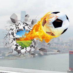 Football On Fire Vinyl Decals 3D Wall Sticker Sports - WHITE