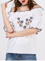 Floral Embroidery Off The Shoulder Blouse -