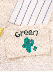 Straw Cactus Embroidered Clutch Bag