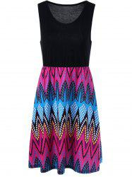 Sleeveless High Waist Graphic Dress - COLORMIX