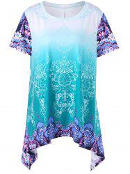 Plus Size Ombre Graphic Asymmetrical T-Shirt