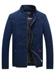 Stand Collar Zippered Jacket - CERULEAN L