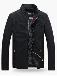 Stand Collar Zippered Jacket - BLACK
