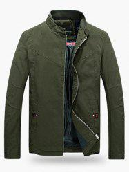 Stand Collar Zippered Jacket - ARMY GREEN 3XL