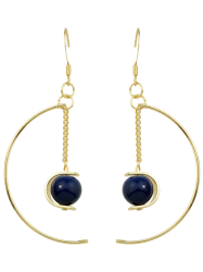 Artificial Gem Bead Chain Circle Earrings