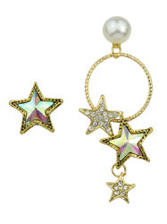 Asymmetric Faux Pearl Star Earrings