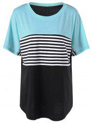 Plus Size Striped Trim Longline T-Shirt