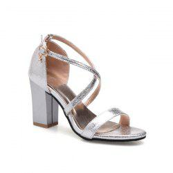 Cross Strap Rhinestone Sandals