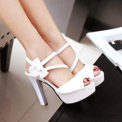 Faux Leather Peep Toe Sandals - WHITE