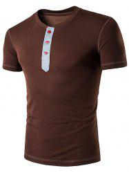 Grandad Collar Buttons Short Sleeve T-Shirt