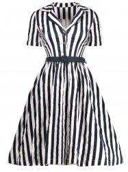 Vintage Striped A Line Midi Dress with Buttons