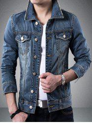 Turndown Collar Pockets Design Jean Jacket - BLUE