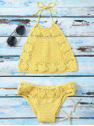 Flower Pattern Halter Crochet Bikini Swimwear