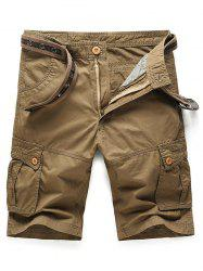 Metal Buckle Embellished Pockets Cargo Shorts