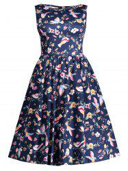 Sleeveless Printed Retro Dress