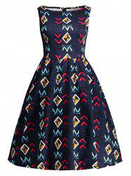 Geometric Print Sleeveless Vintage Dress