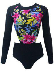 Long Sleeve Floral Print Cut Out One Piece Swimwear